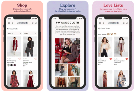 image of 3 iOS app views of the ModCloth app