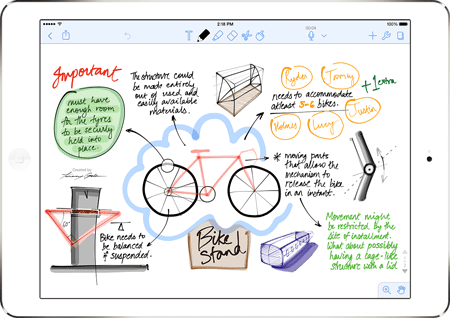 Notability digital notebook app with a drawing of a bicycle hanger design