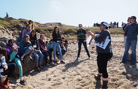 users in action; students and instructors from the MBA education programs in the tide pools